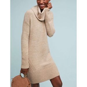 Anthropologie Sonoran Sweater Dress Tan Cowl Neck
